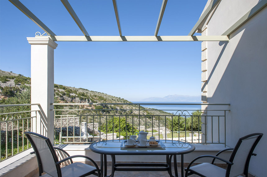 Villa Mylos Balcony with Coffee Table